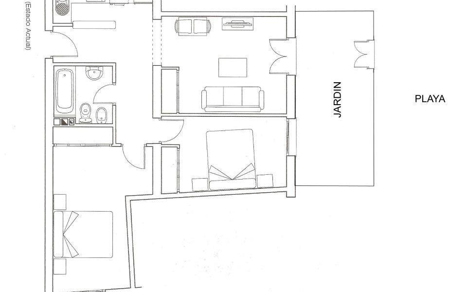 Bajo con jardín 2 dormitorios en Zona Pueblo - Ref: 52